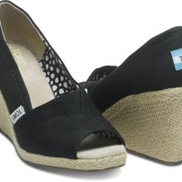 Black Calypso Canvas Women's Wedges
