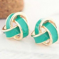 waloli shopping mall  Retro Vintage Green Flower Earrings