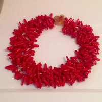 5 Strand Red Sea Coral Branch Gemstone Necklace 18&quot;