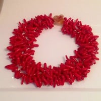 5 Strand Red Sea Coral Branch Gemstone Necklace 18""
