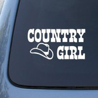 Country Girl Cowboy Hat - Car, Truck, Notebook, Vinyl Decal Sticker #2290 | Vinyl Color: White