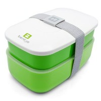 Bentgo - The All-in-one Stackable Lunch Box Solution - Sleek and Modern Bento Box Design Includes 2 Stackable Containers, Built-in Plastic Silverware, and Sealing Strap