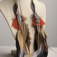Handmade Long Feather Earrings- Sexy design 10 inches25.4 cm | peaceloveandallthingsjewelry - Jewelry on ArtFire