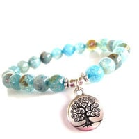 Tree of Life Mala Bracelet Lotus Yoga Jewelry Wisdom Spiritual Healing Dragon Veins Etsy Unique Gift for Her Mothers Day Under 25 Item Y46