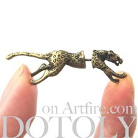 3D Fake Gauge Realistic Jaguar Leopard Animal Stud Earrings in Brass