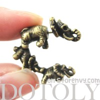 Unique 3D Fake Gauge Baby Elephants Animal Stud Earrings in Bronze
