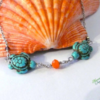 Sea Turtle Anklet Jewelry made in Hawaii by Mermaid Tears, Hawaiian Honu anklet bracelet