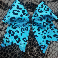 "Sequined 2 1/4"" Turquoise Cheetah Cheer Bow"