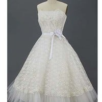 50s Tea Length Dresses-Vintage 1950s White Lace Tulle Wedding Dress