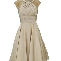 Jewel Neck Champagne Cocktail Dress-Vintage Style Cocktail Dresses