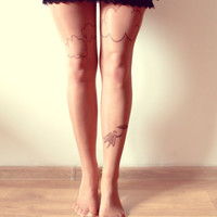 Man from Clouds - Tattoo Tights - Free Shipping - Made to order :)