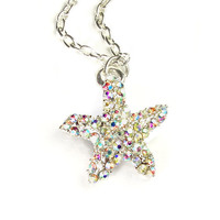 rhinestone starfish necklace - starfish necklace - starfish jewelry - starfish pendant - starfish - rhinestone necklace - beach wedding