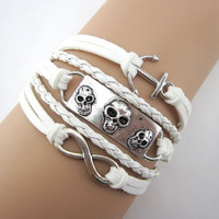 Bracelet, pure white, skulls, anchor, gifts,  woven leather, antique silver, the maid of honor, boyfriend, girlfriend,B43