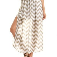 Chevron Stripe Chiffon Maxi Skirt: Charlotte Russe