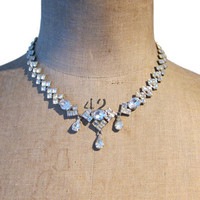 Vintage 1940s deco revival rhinestone necklace