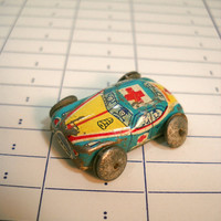 Vintage Mini Tin Car Lithographed Tin Toy Micro Tiny Ambulance Made in Japan