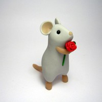Tall Rose Mouse Grey | QuernusCrafts - Sculpture on ArtFire