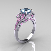Classic 14K White Gold 1.0 CT Aquamarine Light Pink Sapphire Blazer Wedding Ring R203-14KWGLPSAQ