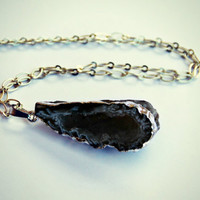 raw geode necklace, silver dipped geode, raw stone necklace, druzy necklace, natural stone necklace