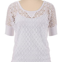 Elbow Sleeve Crochet Dolman Pullover