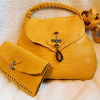 Leather purse with matching wallet, made to order in the color of your choice! | LeatherCrafted - Bags & Purses on ArtFire
