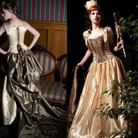Gold Dust Falls Steampunk Wedding or Formal Gown Custom | azraelsaccomplicedesigns - Clothing on ArtFire