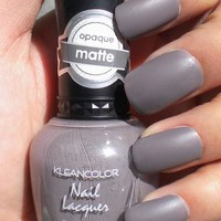 Kleancolor Matte Opaque Gray Cherry Mocha Nail Polish from TheNoirStar