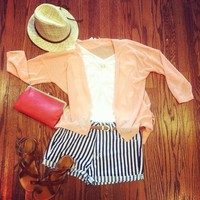Railroad Stripe Denim Shorts