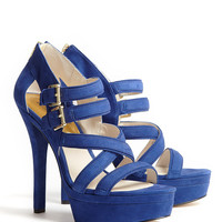Blue Aria Suede Platform Sandal by MICHAEL Michael Kors