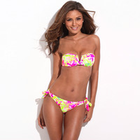 Full-Lined Floral Blooming Pattern Bikini Set
