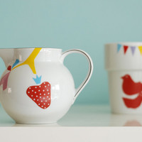 SALE Strawberry & spirograph pitcher