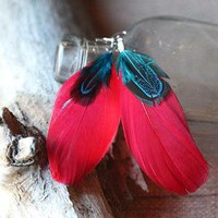 light in flight feather earrings in red - $10.99 : ShopRuche.com, Vintage Inspired Clothing, Affordable Clothes, Eco friendly Fashion