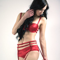 Vanessa: red silk satin bra