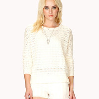 Open Knit Dropped Shoulder Sweater