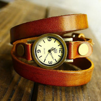 Vintage Style Orange Leather Bracelet  Wrap Watch, Rivet Bracelet Watch Handmade Women's Watch, Everyday Bracelet  PB054