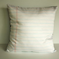 16x16 pillow cover, 16 inch throw pillow, cushion cover back to school notebook paper organic cotton fabric  pillow, 16 inch, 41cm