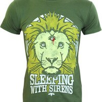 Sleeping With Sirens Lion Men's Green T-Shirt - Buy Online at Grindstore.com