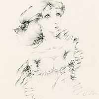 Damsel / Fine Art Fantasy Original Drawing by ABitofWhimsyArt