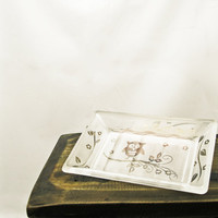 Soap Dish Etched Glass Kitchen Bathroom Home by BeedazzledDesigns