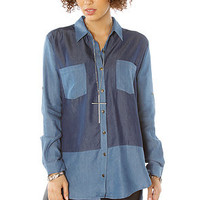 LA Boutique Shirt Denim Block in Blue