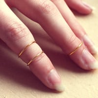 Thin Triple Golden Knuckle Rings - Free Shipping - Made to order :)