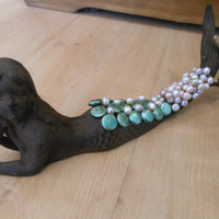 Cast Iron Mermaid  Mermaid with Pearls  Mermaid by LiveCoastal