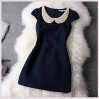 Dark Blue Rhinestones Dress