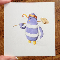 Pirate Penguin Illustration watercolour and pencil (ooak) 'Mop the Deck'