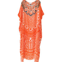Camilla Essaouira Round Neck Kaftan available at les pommettes los angeles