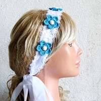 Lace Wedding Headband Guipure crochet flowers by EmofoFashion