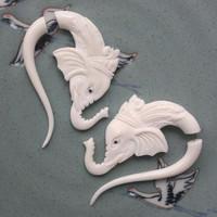 Organic Fake Gauges - RAJA Earrings - Natural White Bone - Hand Carved Elephants