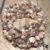 Pink Moonstone and Rhodonite Quartz Multi Wrapped Gemstone Bracelet