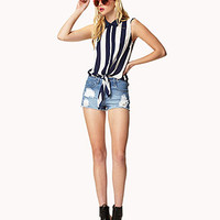 Front-Tie Vertical Striped Shirt | FOREVER 21 - 2035230594