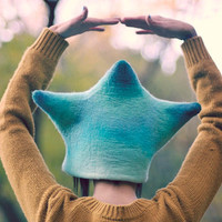 Unique handmade felt hats - blue star hat